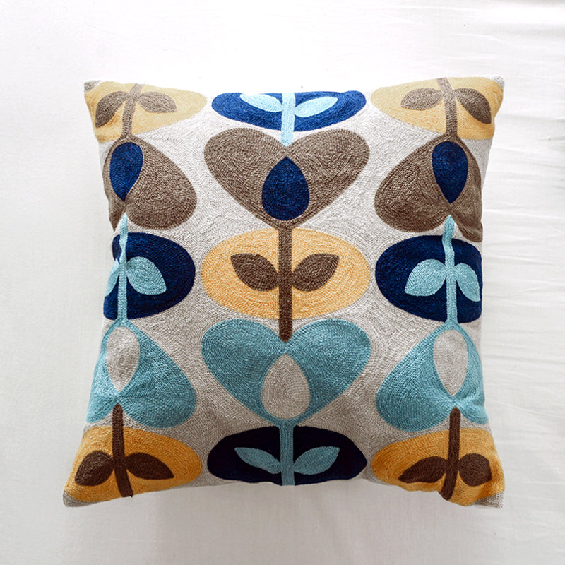 Leaf Embroidered Cushion Cover