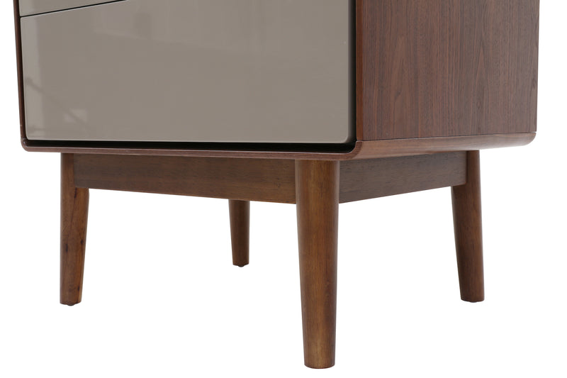 Monica Bedside Table Walnut Khaki