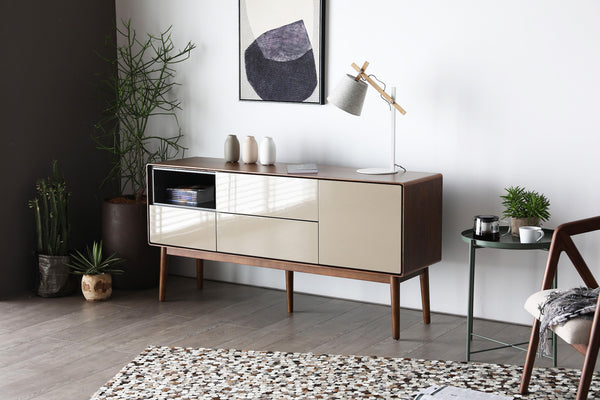 Monica Entertainment Unit Walnut/Khaki