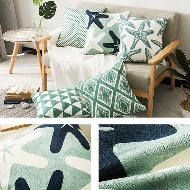 Ocean Green Cotton Embroidery Cushion Cover