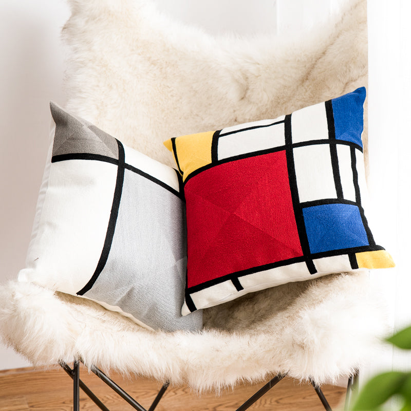 Red Geometric Embroidery Cushion Cover