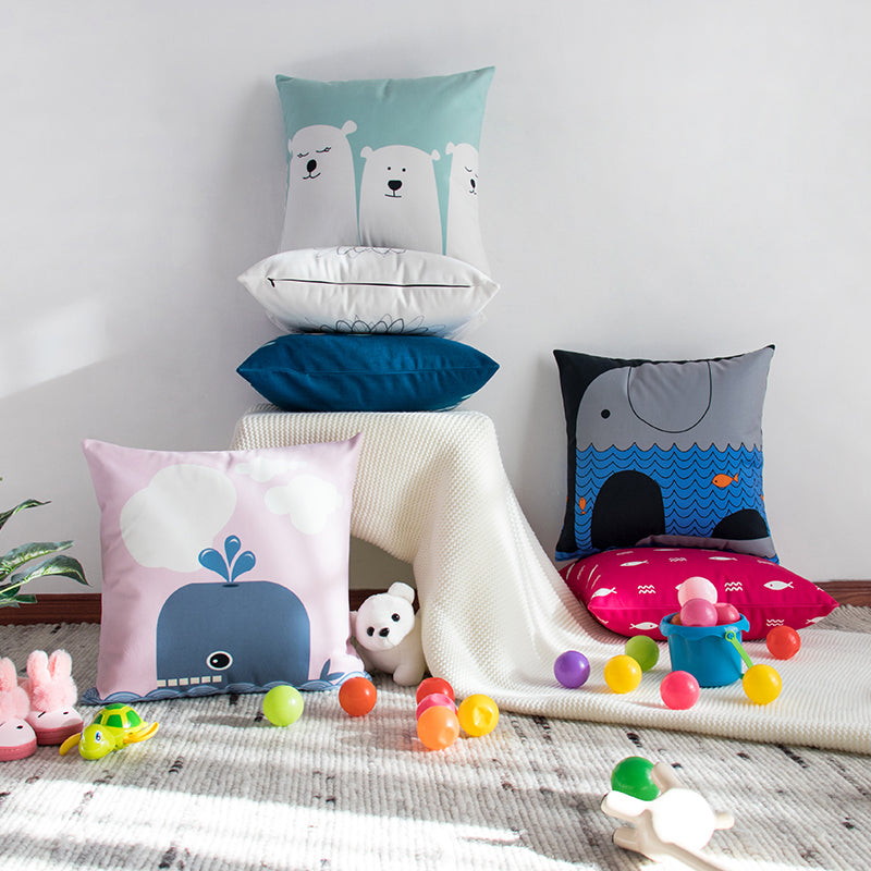 Kids Bolster Square Print Cushion Cover