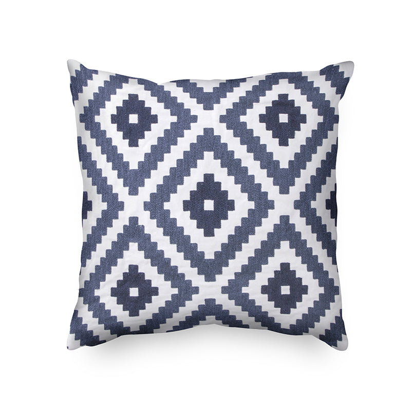 Retro Blue Geometric Embroidered Cushion Cover