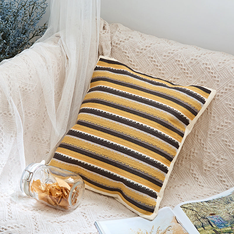 Yellow Geometric Handmade Embroidery Cotton Cushion Cover