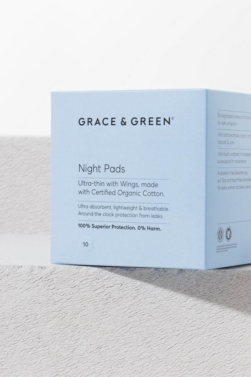 Organic Zero Waste Night Pads With Wings - The Clean Beauty Edit