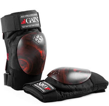 Load image into Gallery viewer, Gain The Shield Hard Shell Knee Pads with Red/Black Swirl Caps