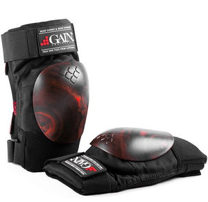 Gain The Shield Hard Shell Knee Pads with Red/Black Swirl Caps