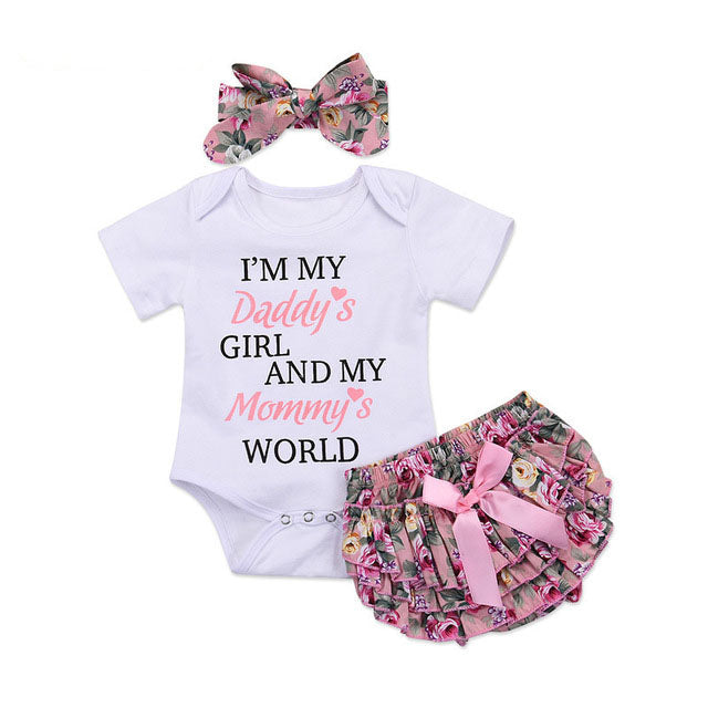 Print Bodysuit+Floral Ruffle Shorts+Headband Infant Girl
