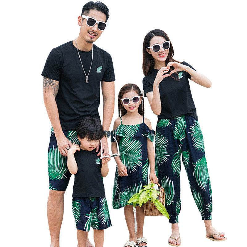 cac6a7e4 Load image into Gallery viewer, Family Matching Palms Outfit Mother+Daughter  Clothes Set ...