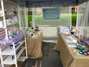 Shore Soap booth - a typical craft fair setup for Shore Soap