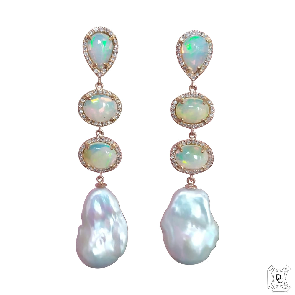Opal and Baroque Pearl Earrings