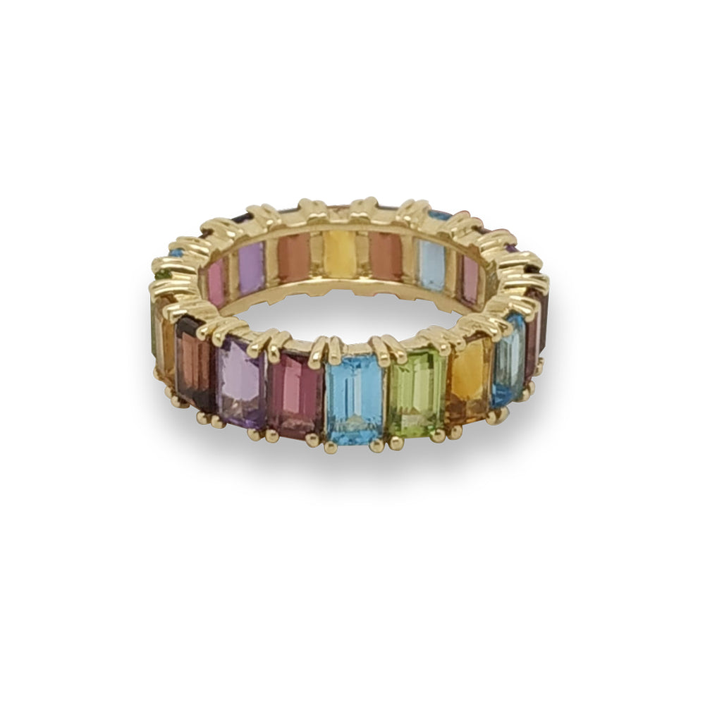 Rainbow Emerald Eternity Ring