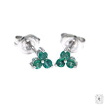 Emerald Trio Stud Earrings