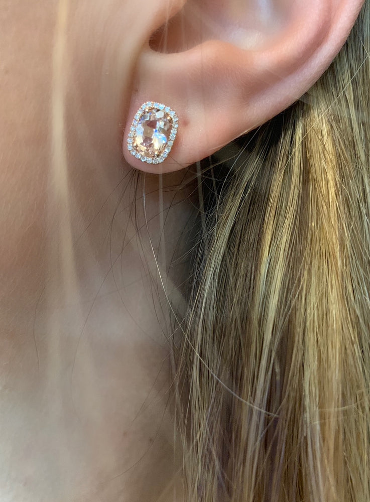 Morganite & Diamond Earrings