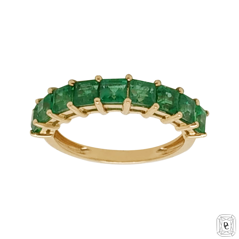 Half Eternity Princess Cut Emerald Ring