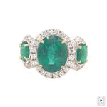 3 Oval Emerald Halo Ring