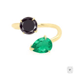 Black Diamond & Emerald Ring