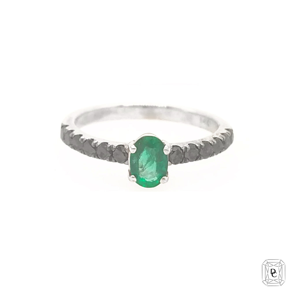Emerald & Black Diamond Ring