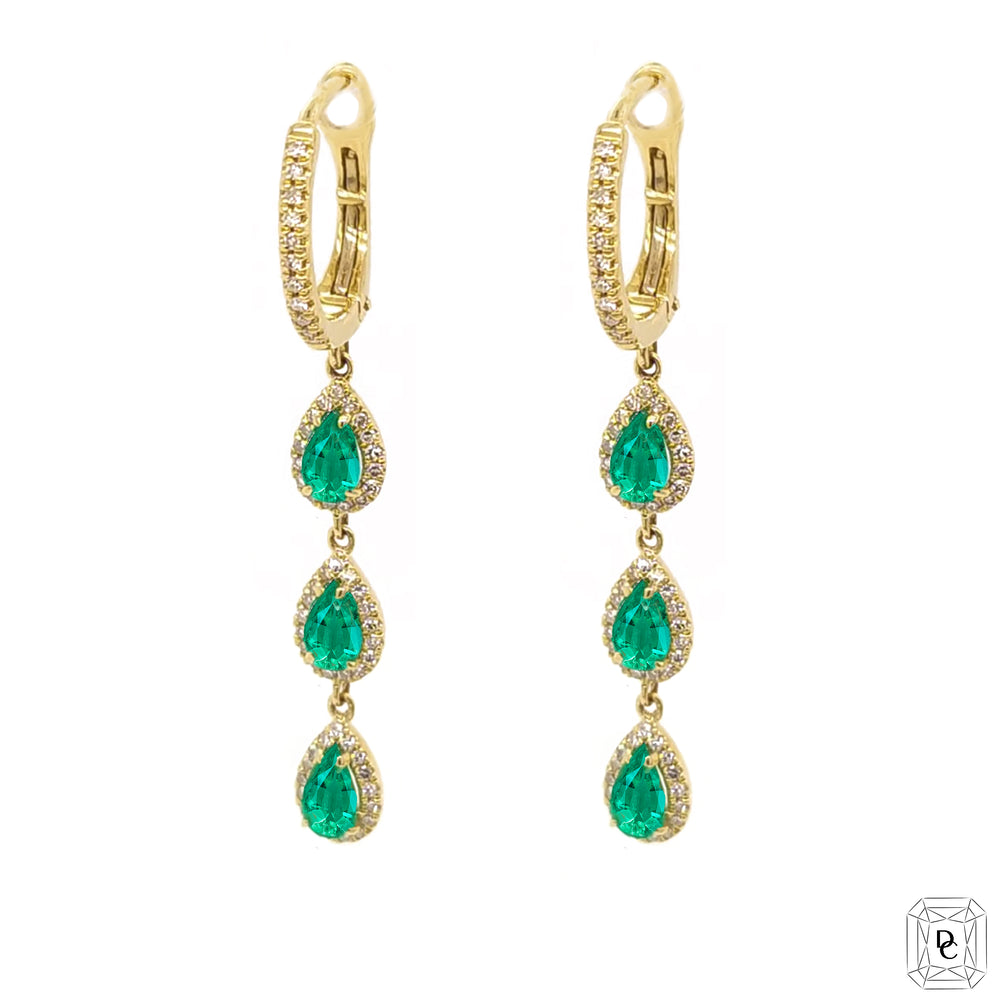 Dangling Pear Shaped Emerald Earrings