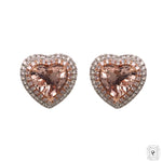 Halo Morganite Earrings