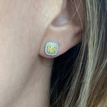 Yellow and White Diamond Studs