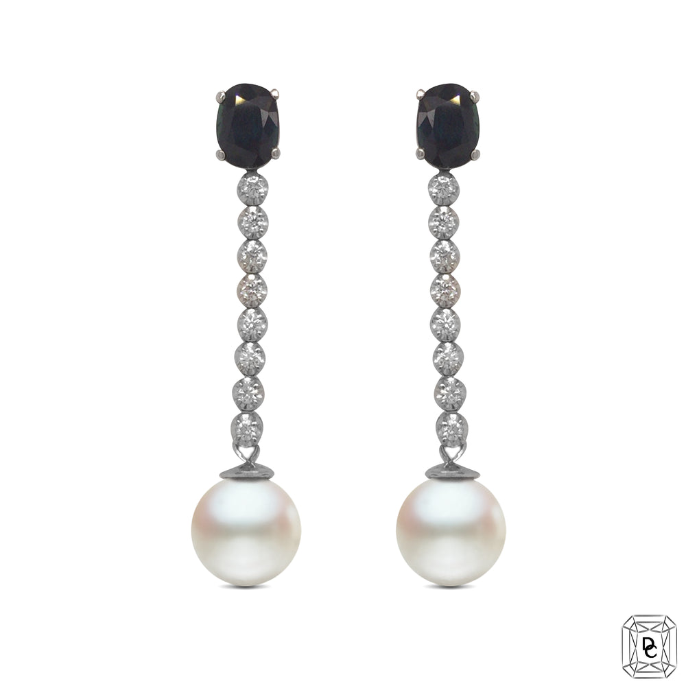 Sapphire & Pearl Drop Earrings
