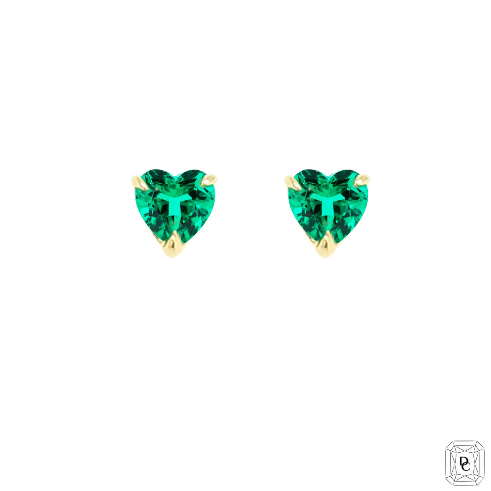 Mini Heart Emerald Earrings