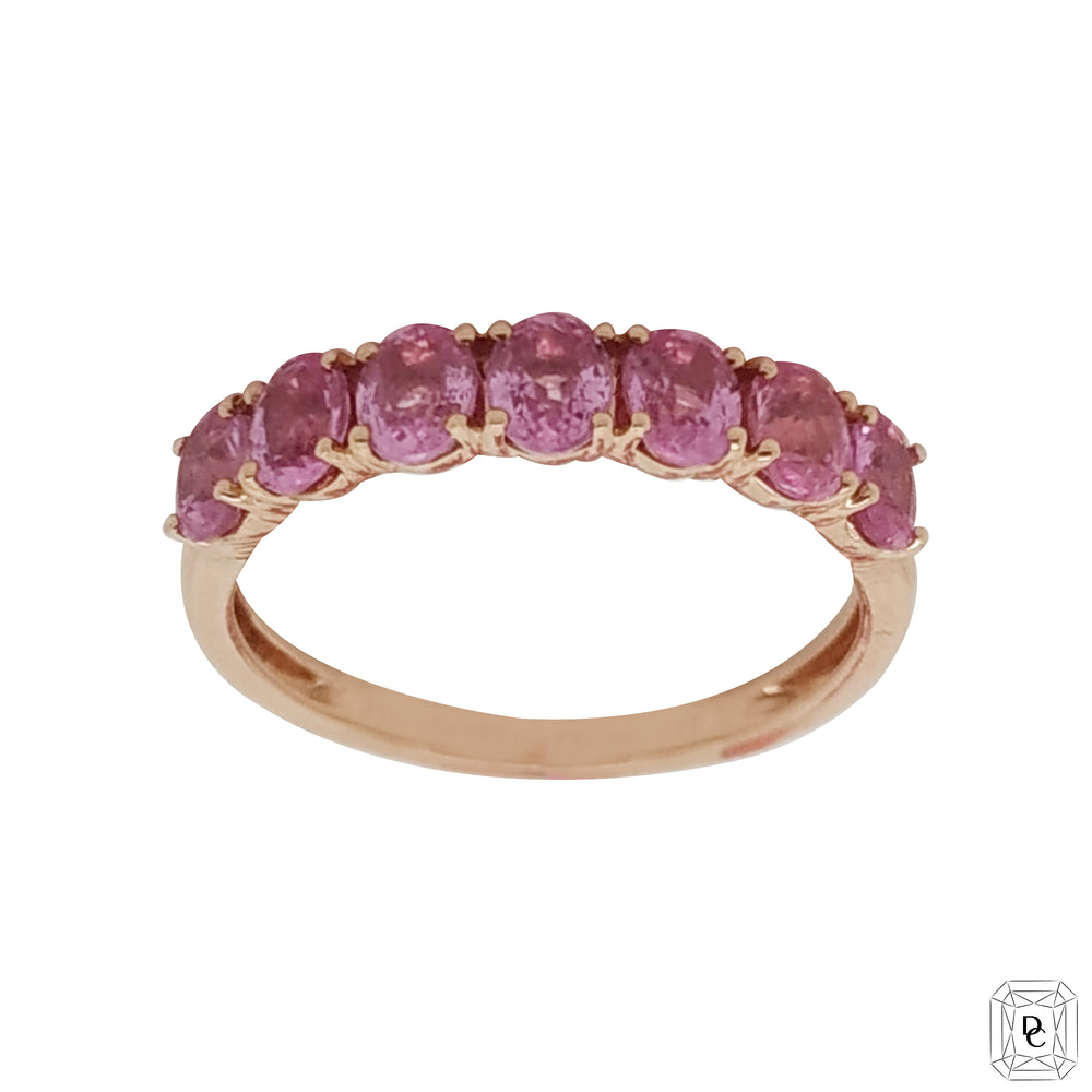 Half Eternity Oval Pink Sapphires Ring