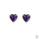 Amethyst Mini Heart Studs