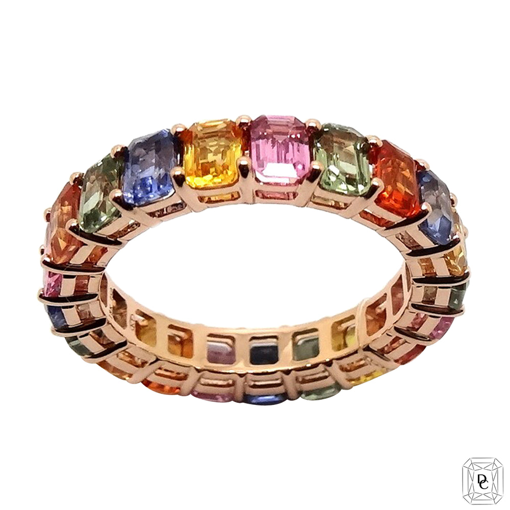 Emerald Cut Rainbow Ring