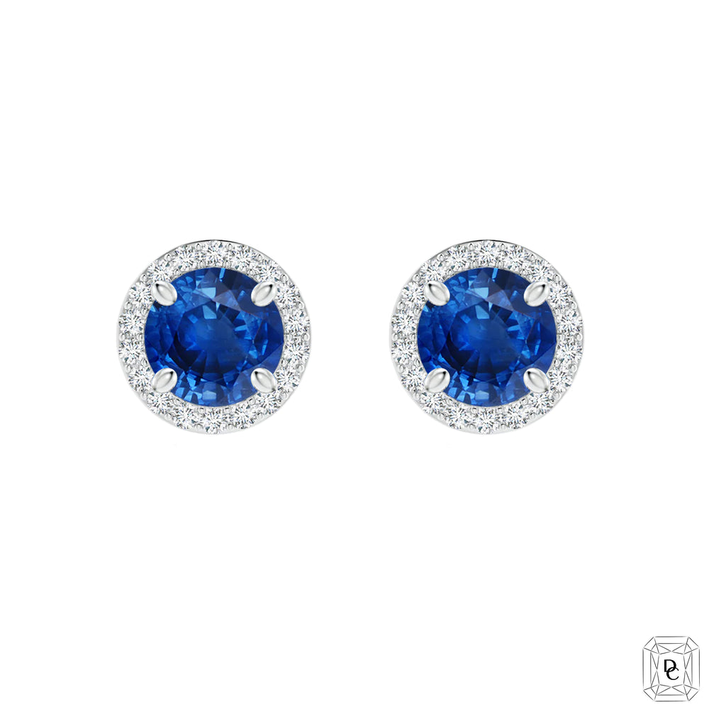 Halo Round Sapphire Earrings