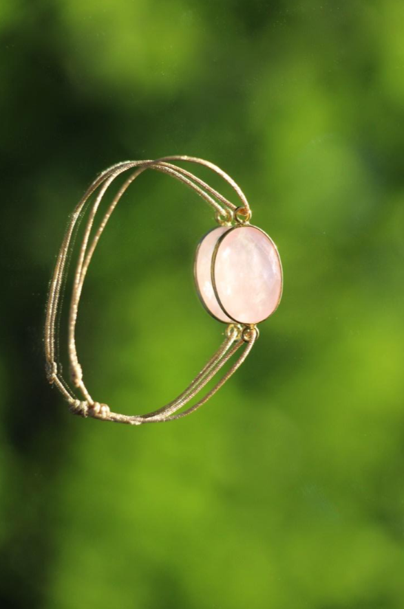 Bracelet Fil 1 Pierre - Quartz Rose