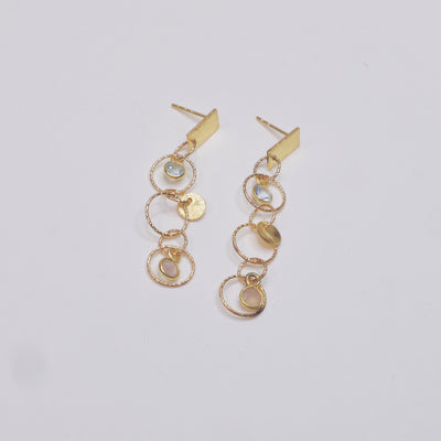 Boucles d'oreille Bubble aigue marine et quartz rose