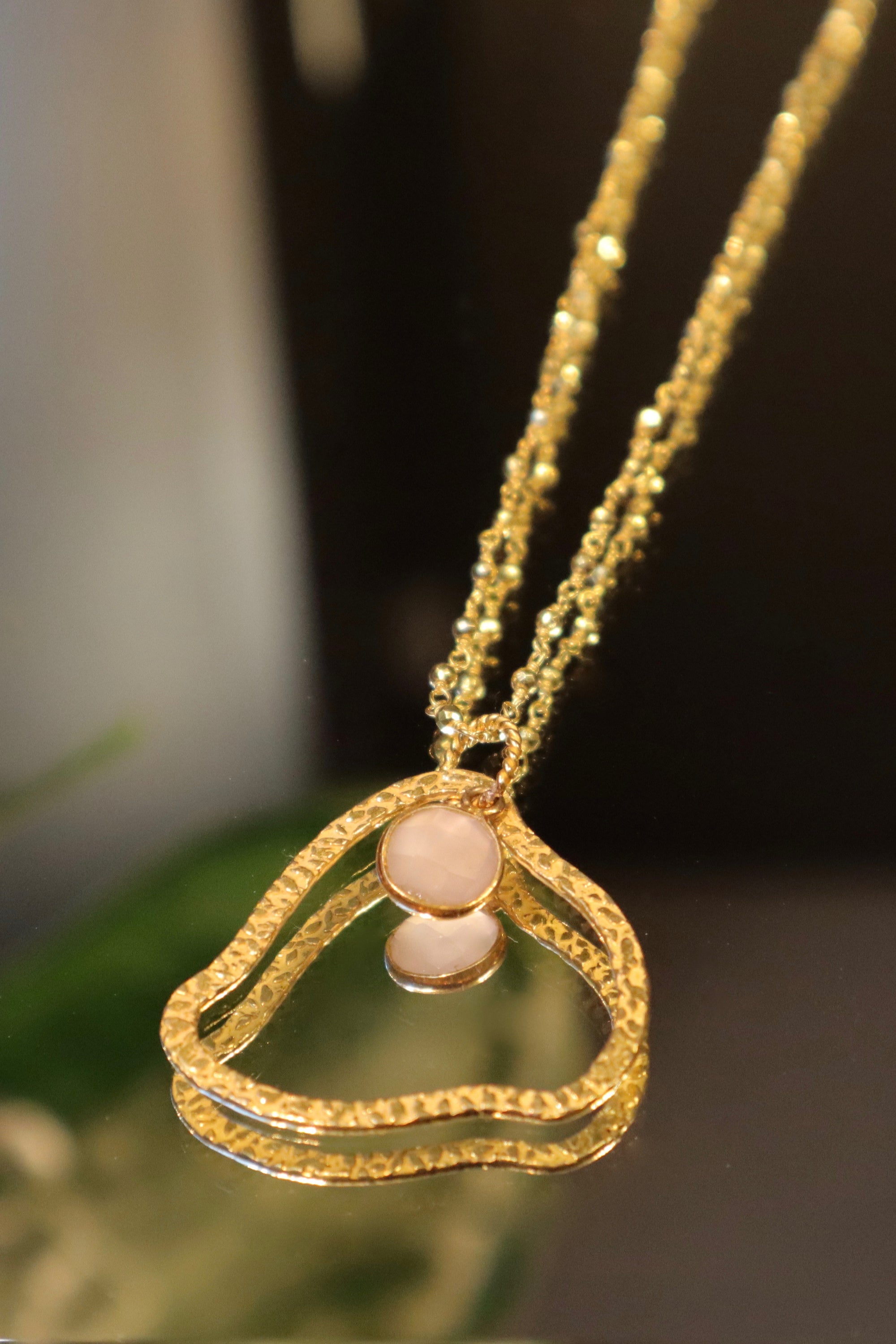 Collier pyrite nuage quartz rose