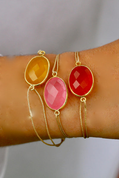 BRACELET FIL PIERRE - CALCÉDOINE ROSE SUNRISE