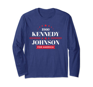 JFK Shirt Long Sleeve Kennedy Johnson Campaign T-Shirt