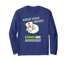 Afbeelding in Gallery-weergave laden, School Nurse Sheep Wash Your Hands Germs Are Bad Long Sleeve T-Shirt