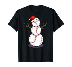 Christmas in July Summer Baseball Snowman Party T-Shirt Gift