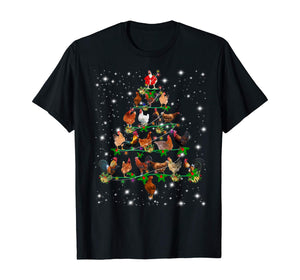 Funny Chickens Christmas Tree Tee Ornament Decor Gift T-Shirt