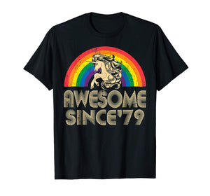 Unicorn Awesome Since 1979 40th Birthday T-Shirt Gift