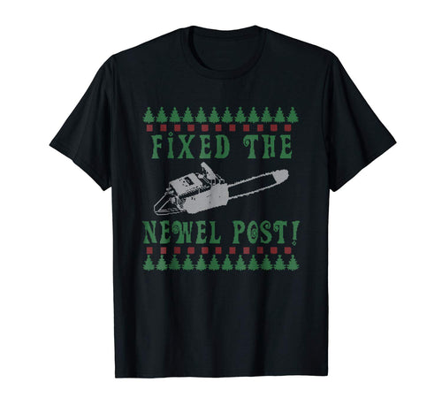 Ugly Christmas sweater tshirt design fixed the newel post