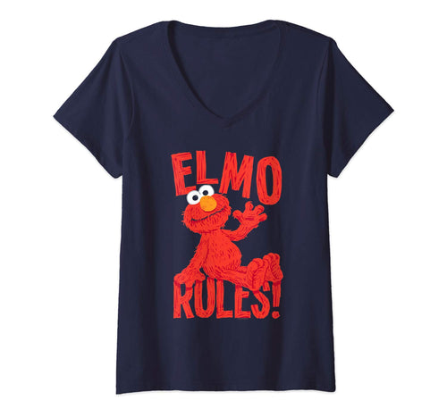 Womens Sesame Street Elmo Rules V-Neck T-Shirt