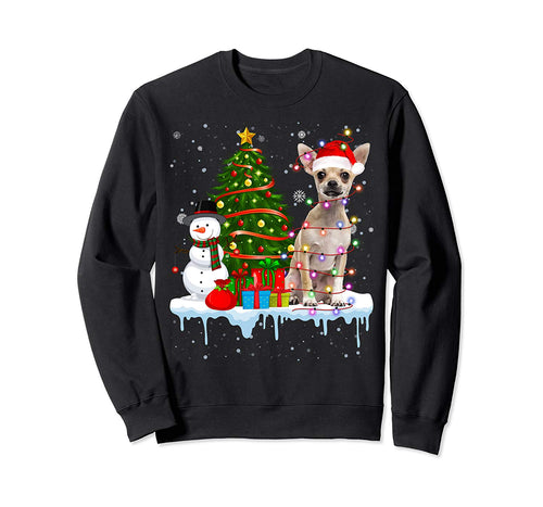Chihuahua Dog Costume Santa Lights Hat In Snow Christmas Sweatshirt