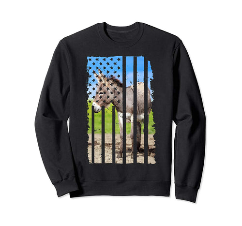 Funny Donkey Picture Shirt American Flag Christmas Gift Sweatshirt