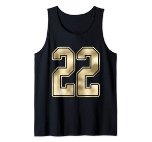 #22 Outline Number 22 Sports Fan Jersey Style Costume Tank Top