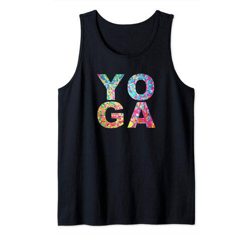Inspirational Yoga Graphic Rainbow Mosaic, Instructor Gift Tank Top