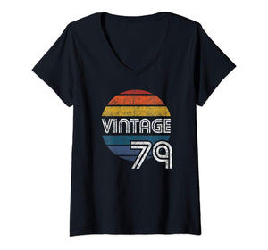 Womens Vintage 1979 40th Birthday Gift Top V-Neck T-Shirt