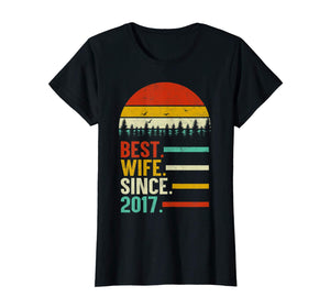 Womens Best Wife Since 2017, 2nd Wedding Anniversary Gift For Her T-Shirt
