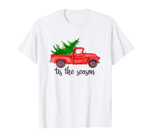 'Tis the Season Watercolor Red Truck with Christmas Tree T-Shirt