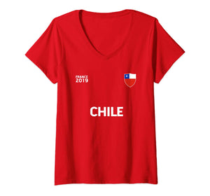 Womens CHILE Women Soccer Shirt France 2019 V-Neck T-Shirt